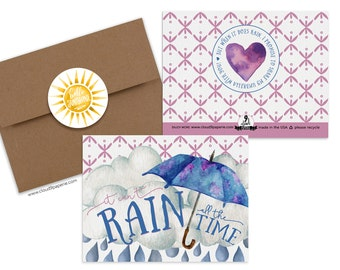 Encouragement card, friendship card, note card, greeting card, card for friend, can't rain all the time, rainbow card, hello sunshine