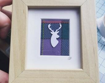 Mini stag frame, stocking filler, Scottish stag head, Tartan gift for her, Baby shower gift, Woodland nursery decor, tartan stag head