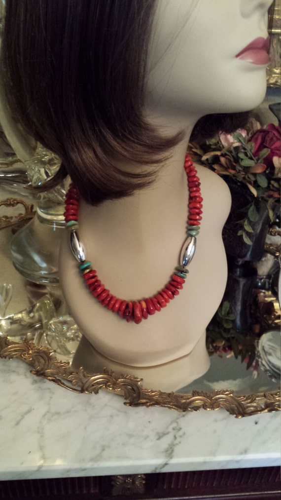 Coral, turquoise and sterling tube necklace