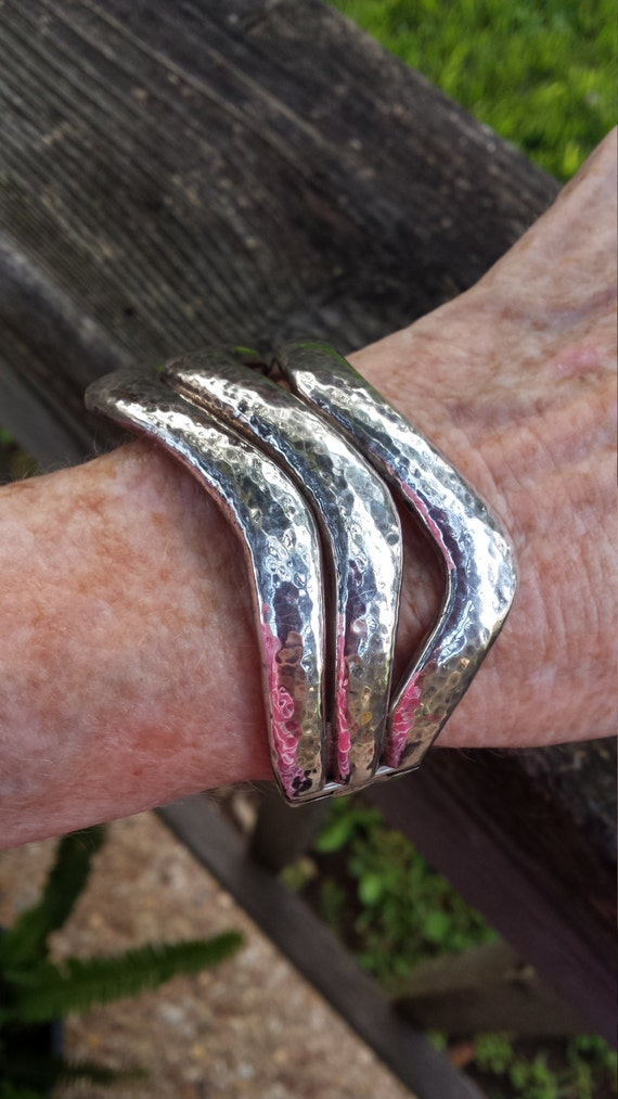 Sterling silver three dimensional design hammered design cuff