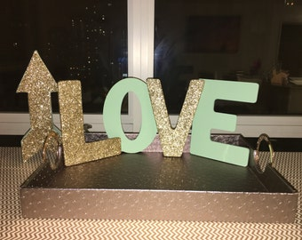 Mint and Gold Glitter LOVE Sign and Arrow