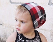 Red, White and Black Buffalo Plaid Baby / Toddler Beanie - Slouchy Beanie Reversible Beanie