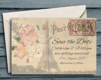 "Personalised Save the Date Cards 4x6"" Invitations with Envelopes Vintage Postcards ~10x15cm Day Evening Shabby Rustic Country Old Post Cards"