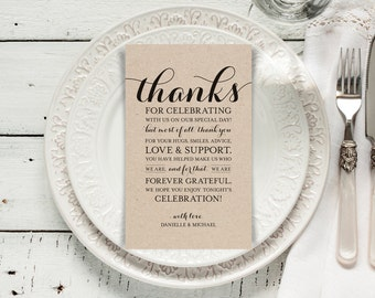 Wedding Thank You Printable Template, Printable Thank you, Thank You Card Template, Wedding Printable, PDF Instant Download #BPB133_14