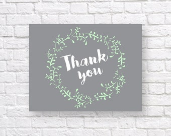 Baby shower THANK YOU CARD-  Mint and gray thank you card- Flat & Folded A2 Sized - Instant Download - Baby shower thank you - mint wreath