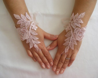 Soft Pink Lace Handmade Medium Fingerless Wedding Gloves With Silk Ribbon