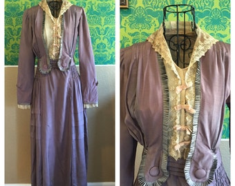 Vintage 1910s Dress - Purple Edwardian Walking Dress - S M