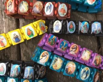 Saints Bracelets -Elastic Charm Religious Jewelry Wooden Religious accessory