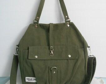 Dark Olive Green Backpacks/School Bags/Travel Bags/Bags & Purses/Handbags/Shoulder Bag/Messenger Bag/Tote Bags/Three in one/Multi-Bag