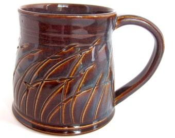 Unique Coffee Mug, Handmade Ceramic Mug, Grass Mug, Brown and Blue Mug, Earthy Mug, Handmade Coffee Mug, Ceramic Coffee Mug, Great Gift!