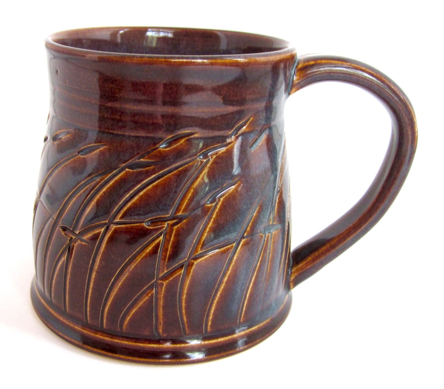 Unique coffee mug handmade ceramic mug grass mug brown and Unique coffee cups mugs