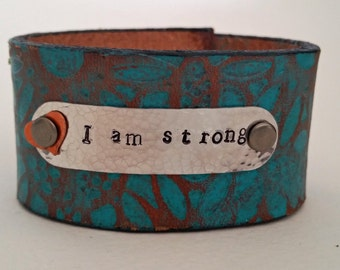 Hand stamped leather cuff, Boho gypsy, I am strong with copper heart