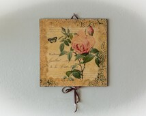 Shabby Chic Home Decor, Shabby Chic Wall Decor, Cottage Decor, Cottage Chic, Wall Art, Wall Hanging, Wall Decor, French Country, Rose