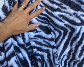 """60""""w Black n white animal stripe print Extremely soft Fabric by the yard"""