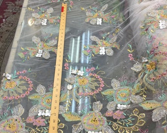 "54""w Korean lace White Embroidered w rhinestones Pink flower rainbow"