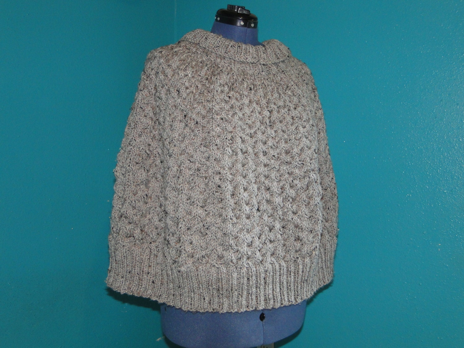 Cable Cape Knitting Pattern : Grey Marble Cable poncho knit pattern