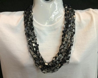 Black and grey crocheted ribbon necklace #7078