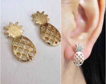 Pineapple Clip on Earring, Non pierced earring, Gold Invisible clip on earring,C24s, Magnetic earring alternative, clip on stud earring
