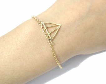 Diamond Shape Wedding Bracelet, Gold Bridesmaid Bracelet, Bridesmaid Gift, Bridal Bracelet, Birthday Gift, Mother day Gift for Mom Grandma
