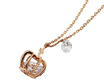 Crown Crystal Gold Necklace