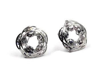 Sparkling crystal flower earrings