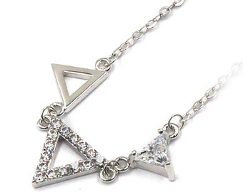 Mini triangles metal crystal necklace
