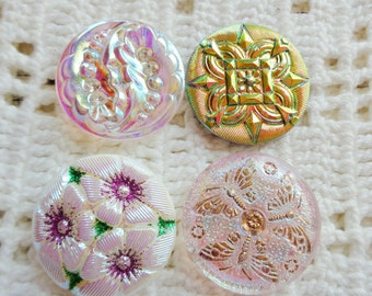 SALE 4 Czech art glass buttons in lacy and lustered finishes 27mm  FREE SHIPPING
