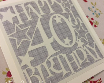 40th Birthday Stars Paper Cutting Template - Commercial Use