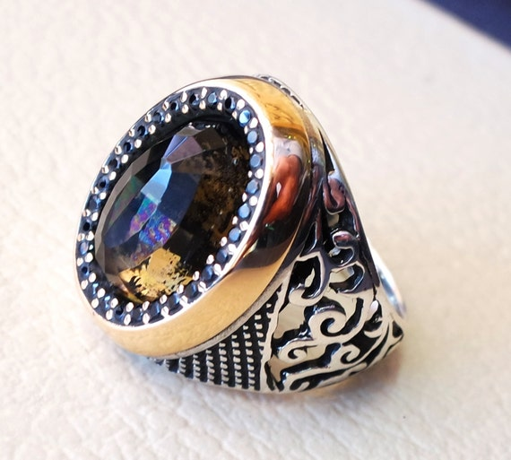 Changing color black brown stone sterling silver 925 men ring for Fashion jewelry that won t change color