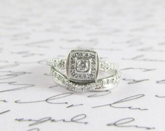 Diamond Halo Bridal Ring / Wedding Ring Set 1 ct tw Two Pieces Size 7