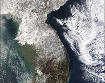 24x36 Poster . Satellite Image Map China, North Korea,  Parts Of South Korea