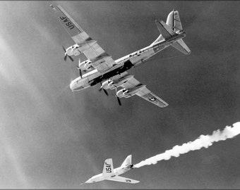 24x36 Poster . Bell Aircraft Company X-2 & Boeing B-50 Superfortress 1955