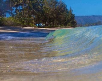 Pretty Island Beach Photography,Minimalist Wave Home Photo,Surf Landscape Picture,Surfer Lifestyle Art,Fine Art Beach,Green Mini Wave,Art