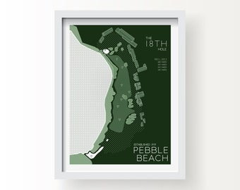 PEBBLE BEACH 18th Hole Map Print - graphic drawing art poster golf Masters