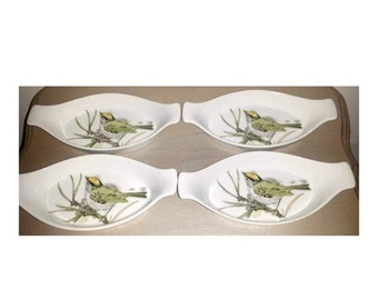 Enesco Song Bird Au Gratin Dishes,Set of 4,Augratin Dish,Song Bird, Enesco, Enesco Song Bird, Bird Dishes, Oven to Table, Cottage Chic,1970s