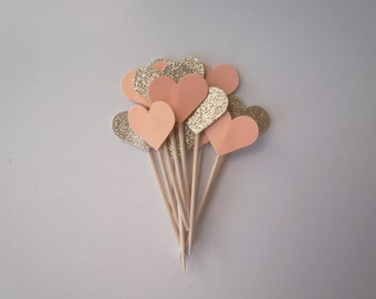 Peach and Gold Heart Cupcake Toppers