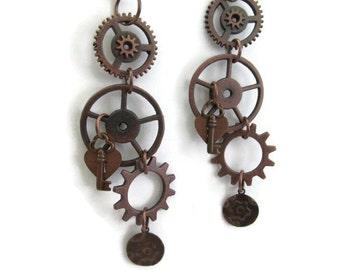 Earrings, Steampunk, Copper, Gears, Key and Heart Lock, Embossed Gear Tag