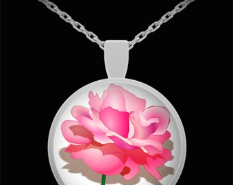 Watercolor Pink Rose Necklace, Spring Flower Jewelry, Mother's Day Gift, Novelty Unique Necklace, Teen Gift