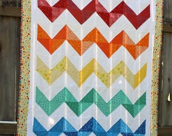 Rainbow Cheveron quilt