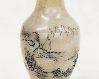 """Chinese hard stone carved vase 5 1/4"""" tall, 2 1/2"""" diameter. Signed on the bottom"""
