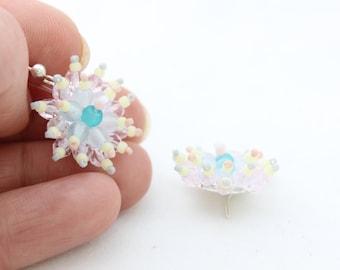 Floral Bead Earrings in Sterling Silver. Cluster Earrings.
