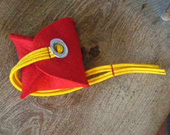 Red and Yellow Felt Purse