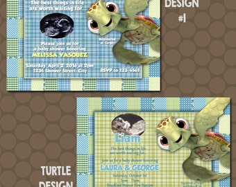 Nemo Turtle Squirt Baby Shower Invitations or Thank You Cards Printable Uprint Digital Printed * 4 designs * READ DESCRIPTION
