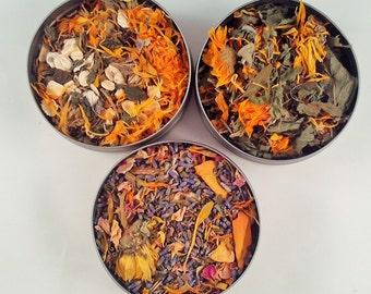 Bath Blend Sample Trio - dried herbs - bath herbs - skin care - dried lavender - dried rose - dried calendula - dried mint