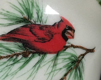 Vase Red Cardinal Pine Christmas Small