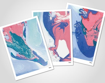 Eagle Card SET - 3 x post cards with envelopes, modern greeting card, invitation card, graphics, painting, marble, art, gift, birthday