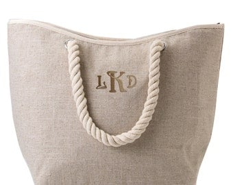 Personalized Insulated XL beach tote bag | Natural Jute cotton fabric | Bridesmaid's Gift |