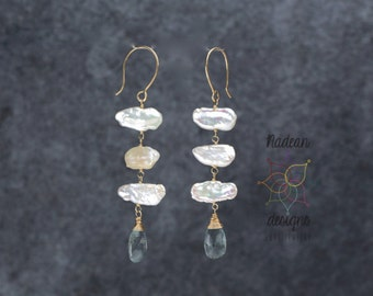 biwa stick pearl earrings long rectangle pearl earring white pearl and milky aquamarine earring 14 karat gold filled long pearl earring