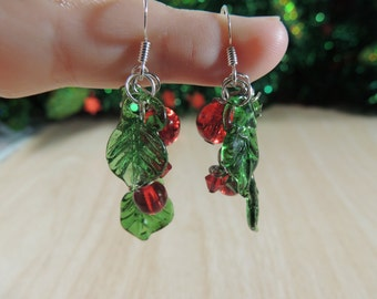 Green and Red cluster Christmas earrings