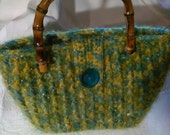 Handbag CroCHet yarn-mustard-green sky with bamboo handles...